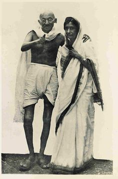 Mahatma Gandhi with Rajkumari Amrit Kaur at Simla in 1945
