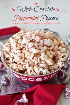 White Chocolate Peppermint Popcorn - With just three ingredients, this popcorn is easy, delicious & fun. Melted white chocolate candy kisses & kettle corn. Simply Sated