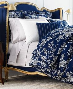 The more pillows and cushions your bed has to fancier you are Ralph Lauren Deauville Bedding Collection - Not only the bedding but also the bed itself is beautiful. Royal Blue Bedding, White Bedding, White Bedroom, Navy Bedrooms, Boho Home, Ralph Lauren, Blue Rooms, White Decor, Beautiful Bedrooms