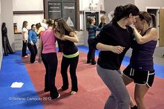Monday, Jan. 16--During a women's easy escape self defense class at Komar Jiu Jitsu in Egg Harbor Township, participants practice a blocking technique to restrain someone during a potential attack. From right are Jeannine Bauer, of central Egg Harbor self defense moves