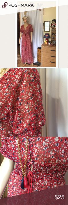 Sheer maxi in size L 🌺 Cute super sheer red, white and blue maxi in size L has no label with makers name 😊 this is a really sheer dress or cover up 💖 Please ask any questions always happy to answer 😊 Happy Posh 🌸🌺 Dresses Maxi
