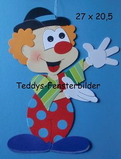 Teddys Fensterbilder 21 ´ Clown 4 ` Tonkarton Carnival Decorations, Carnival Themes, Party Themes, Foam Crafts, Diy And Crafts, Paper Crafts, Preschool Circus, Clown Party, Clowning Around