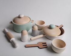 Our lovely WOODEN COOK SET KITCHEN -MINT! Fresh and stylish Set for cooking and serving will be a perfect gift for a girl or a boy and addition to toy kitchen. Kids Play Kitchen, Kids Wooden Kitchen, Toy Kitchen Set, Cooking Toys, Waldorf Toys, Montessori Toys, Felt Toys, Wood Toys, Baby Decor