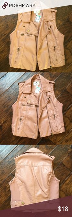 Pink faux leather vest Brand new never warn light pink faux leather vest Jackets & Coats Vests