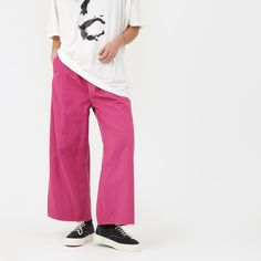 MM6 Straight Leg With White Stitching - Fuxia