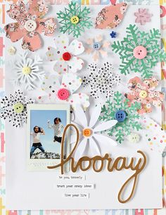 Layout with Snowflakes and blossom Die-cutting by EyoungLee at @studio_calico