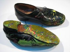 Eric Carle & His shoes after a day of mural painting.