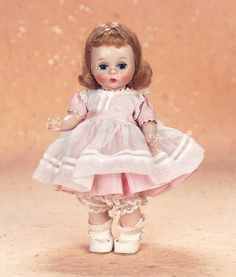 "Theriault's - 8"" American Alexander-kins in Pink Taffeta Dress, c 1953"