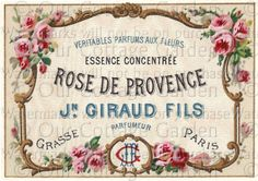 5 Antique FRENCH Perfume Labels * ROSES | Our Cottage Garden