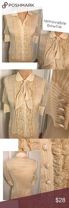 JUICY COUTURE cap sleeve pinstripe tuxedo blouse JUICY COUTURE semi-sheer cap sleeve pinstripe tuxedo blouse, pale yellow with covered buttons.  Removable bowtie.  933610 Juicy Couture Tops Blouses
