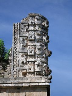 Stone carvings, Uxmal, Yucatan, Mexico.