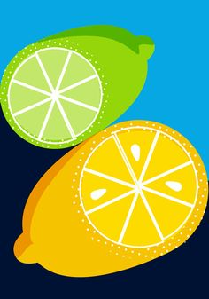 Retro Bold Lemon and Lime Illustration Art Print. Food and Drink Collection. From $20