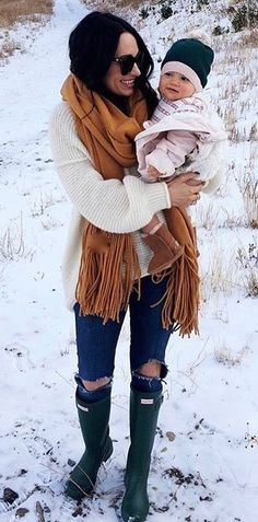 #pretty #winter #outfits /  Mustard Scarf // White Knit // Destroyed Jeans // Green Boots