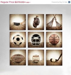 FLASH SALE til MIDNIGHT Vintage Square Sports Collection Set of Nine Canvases  Ready to Hang, Vintage Sports Nursery, Rustic Sports Decor