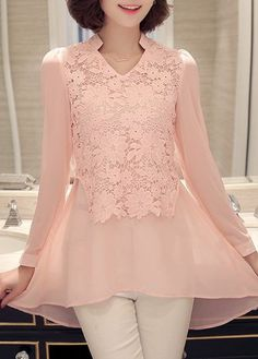 Long Sleeve V Neck Lace Panel Pink Blouse, free shipping worldwide, check it out.