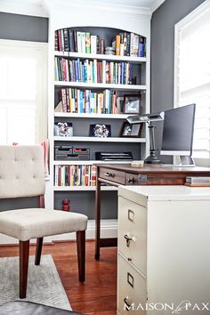 built in office bookshelves and vintage file cabinet| maisondepax.com