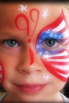 fourth of july face painting ideas Face Painting Designs, Paint Designs, Body Painting, 4th Of July Party, Fourth Of July, 4th Of July Fireworks, Facial, 4th Of July Decorations, July Crafts