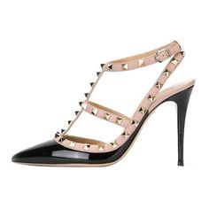 Guoar Women's Stiletto Sandals Big Size Court Shoes Gladiator Studded... ($62) ❤ liked on Polyvore featuring shoes, pumps, pointed-toe pumps, ankle strap stilettos, t strap shoes, studded pumps and studded pointed toe pumps