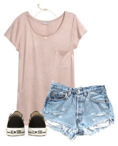 """Vbs day two"" by christyaphan ❤ liked on Polyvore featuring H&M, Converse and Kendra Scott"