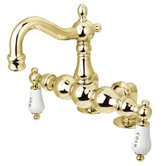 "Kingston Brass CC1095T2 Vintage 3-3/8"" Deck Mount Tub Filler, Polished Brass - Price: $439.95 & FREE Shipping over $99"