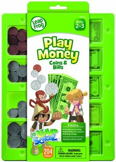 LeapFrog LeapSchool Play Money Coins and Bills Tray, 204 Pieces, Assorted Colors (19472) ** Click on the image for additional details.