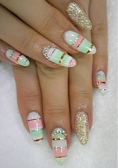 Stylish Pastel Nail Art Designs for Summer 2012 Nails Polish, Nail Polish Designs, Cute Nail Designs, Nails Design, Fancy Nails, Love Nails, My Nails, Bling Nails, Fabulous Nails