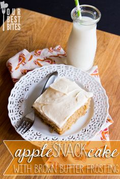 Apple Spice Snack Cake with Brown Butter Frosting NOTE. use box cake mix - Spice flavor. Use the sauté apples and frosting recipe. Apple Snacks, Apple Recipes, Fall Recipes, Just Desserts, Delicious Desserts, Dessert Recipes, Apple Desserts, Brown Butter Frosting, Spiced Apples