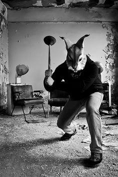 Kung-Fu Rabbit Plumber Ninja by D. Animal Masks, Animal Heads, Bunny Love, Evil Bunny, Pop Art, Monster, Dark Art, Pulp Fiction, Alice In Wonderland