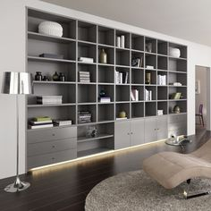 Like this. But in timber veneer. Home Library Design, House Design, Muebles Living, Bookshelf Design, Room Shelves, Wall Shelving, Built In Bookcase, Office Interiors, Home Living Room