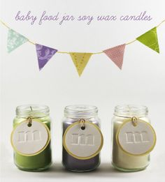 """Baby shower favors- blue candles and the tag say """"Its a boy"""" or his initial. maybe they will smell like a bubble bath or something?"""
