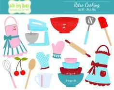 Cooking Clipart, Baking Clipart, Retro Cooking Clip art, Kitchen Clipart, Bridal Shower Clipart
