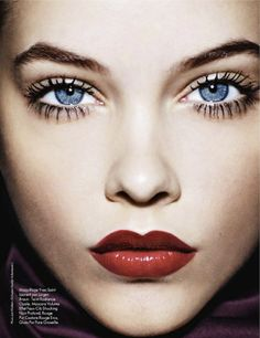 Put on some red lipstick and live a little... - Palvin Barbara Official Site by Jan Welters for ELLE France   #lovefmd #redlipstick #beautyface #blueeyes