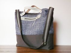 Tote Messenger Bag Diaper bag Blue Gray shoulderbag by SKmodell