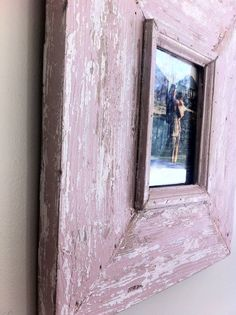 4x6 Distressed Picture Frame Rosy Pink by ShopSweetlySalvaged