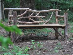 The Best Housewarming Gift SOMETIMES IN MIDDLE AGE, people pick up strange new hobbies -- salsa dancing, wine-tasting, or maybe bonsai. My handy wasband has taken it into his head to make rustic garden furnishings from falle. Willow Furniture, Garden Furniture, Furniture Dolly, Furniture Stores, Trellis Design, Outdoor Projects, Garden Projects, Outdoor Decor, Outdoor Benches