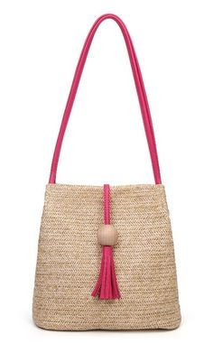 Women's Pink Trim Handmade Rattan Handbag This chic Women's Pink Trim Handmade Rattan Handbag features a unique straw-blend exterior and a contrasting leather trim available in light pink and hot pink. It is the perfect summer tote, perfectly sized for work, errands and weekend style.