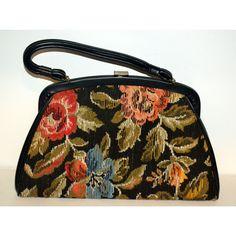 Vintage Black Floral Carpetbag Purse By Dova