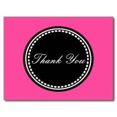 Black and Pink Thank You Post Card