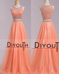 DIYouth.com Bateau Beaded A Line Two Pieces Tulle Prom Dresses 2015,homecoming dresses,tulle evening dresses,sexy cocktail dresses, beading prom dresses,Two Pieces dresses, graduation dresses