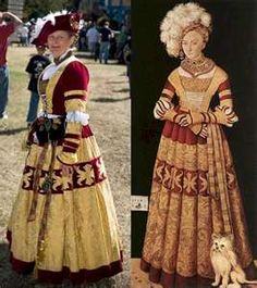 Awesome reproduction of the Cranach gown. She just needs more ostrich feathers and a little rat-dog ;)