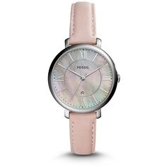 Fossil Jacqueline Three-Hand Date Blush Leather Watch ($105) ❤ liked on Polyvore featuring jewelry, watches, leather wrist watch, fossil watches, fossil wrist watch, bezel jewelry and leather-strap watches