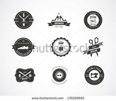 Vintage Vector Sewing Labels, Elements And Badges With Retro Styled Design - 170200682 : Shutterstock
