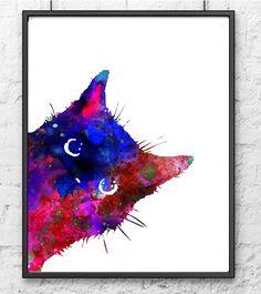 Blue Watercolor Cat Art Print, Housewares, Animal Painting, Cat Art