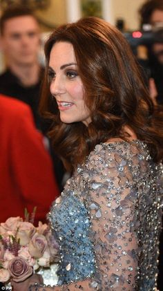 Looking good: Kate glowed before the event at  the London Palladium in central London...