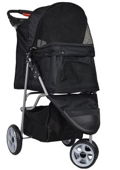 VIVO Three Wheel Pet Stroller for Cat Dog and More Foldable Carrier Strolling Cart Multiple Colors Black >>> Click image to review more details. (This is an affiliate link)
