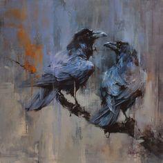 Lindsey Kustusch, Winter's Ravens, 20x20, oil on panel, 2015. http://www.lindseykustusch.com/