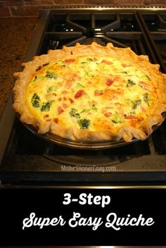 "A friend gave me this Super Easy Quiche recipe which I've made many times. My favorite part was her description when she said, ""you just can't beat a yummy 3 step recipe!"" I completely agree! Quish Recipes, Brunch Recipes, Dinner Recipes, Dinner Ideas, Brunch Ideas, Healthy Recipes, Breakfast Quiche, Breakfast Dishes, Breakfast Recipes"