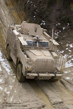 A Ridgback armoured vehicle is pictured at the CSS Trials Development Unit, Aldershot before being shipped into theatre.