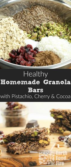 These healthy gluten free Granola Bars loaded with Pistachio Cocoa and Cherry are easy to make and perfect for an on the go snack. Parents and kids will love them. via - April 27 2019 at Healthy Protein Snacks, Healthy Recipes, Diet Recipes, Healthy Foods, Snack Recipes, Protein Bars, Recipes Dinner, High Protein, Brunch Recipes
