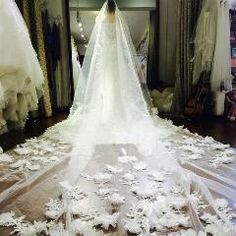[ $33 OFF ] Cathedral Long 5 Meter Wedding Veils Luxury Handmade Flowers Bridal Veil Voile Mariage 2016 Couture Veu De Noiva Longo Com Renda